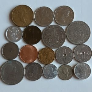 17 Mixed coins - New Zealand, Canada, Norway etc.